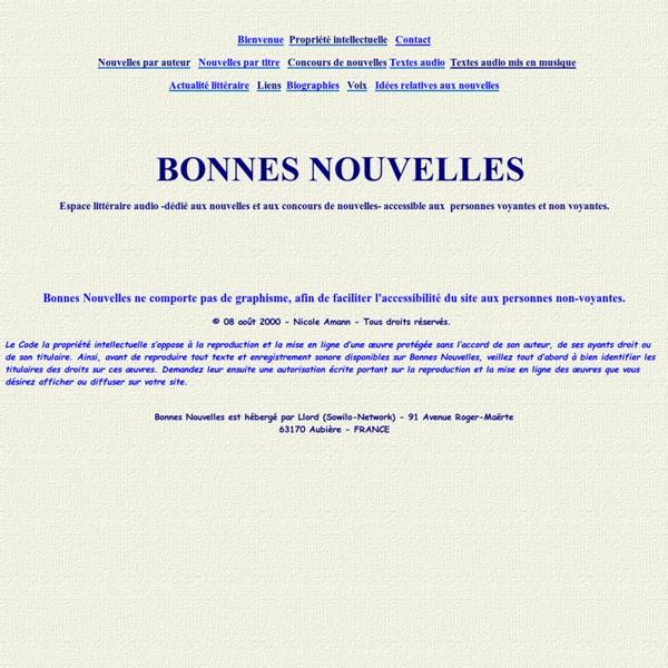 Bonnes Nouvelles : Nouvelles littéraires et concours de nouvelles