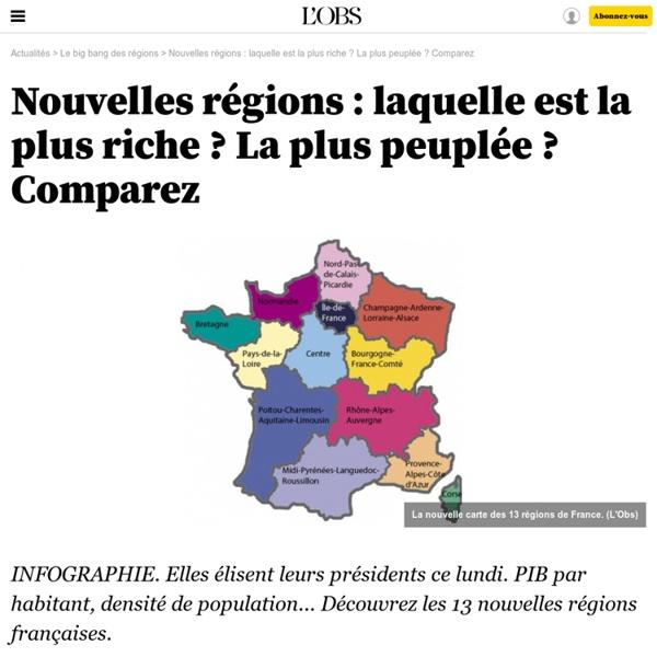 Nouvelles régions : laquelle est la plus riche ? La plus peuplée ? Comparez