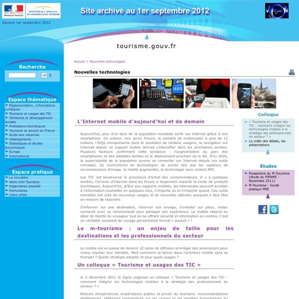 Nouvelles technologies - www.tourisme.gouv.fr