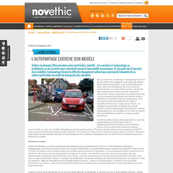 L'autopartage cherche son modèle - Transports - Environnement