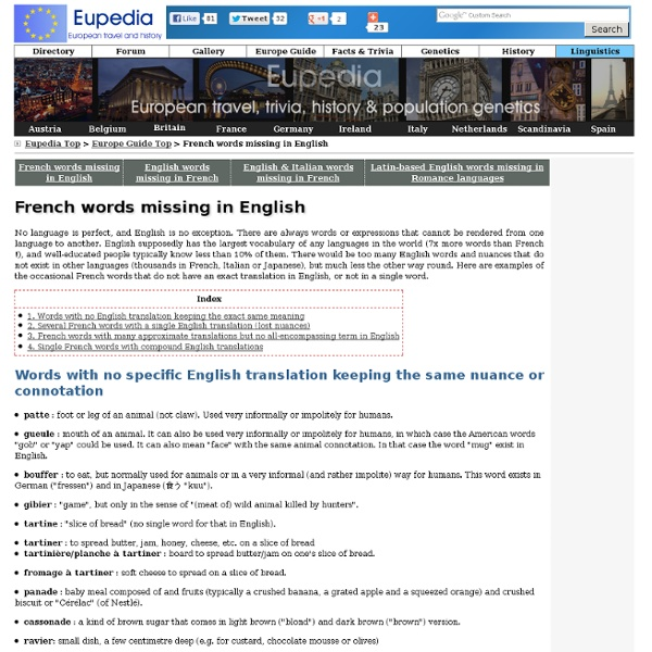 French words and nuances that don't exist in English - Linguistics