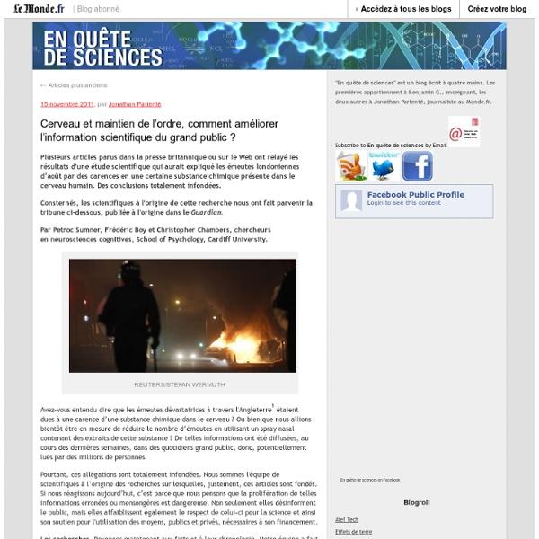 En quête de sciences - Blog LeMonde.fr