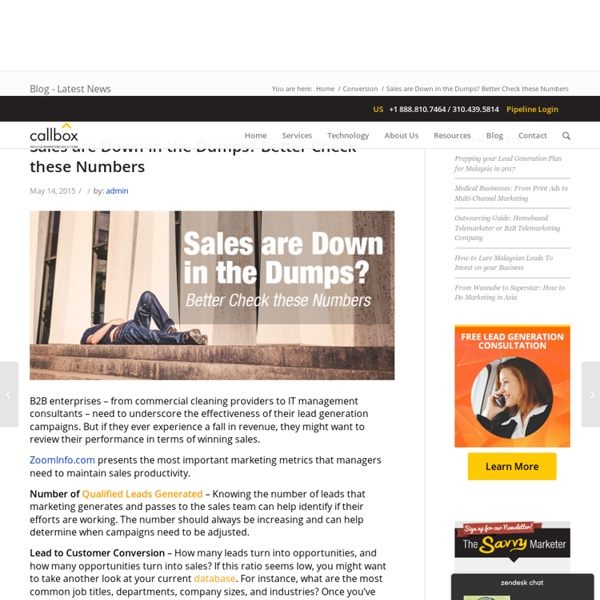 Sales are Down in the Dumps? Better Check these Numbers - B2B Lead Generation Company Malaysia