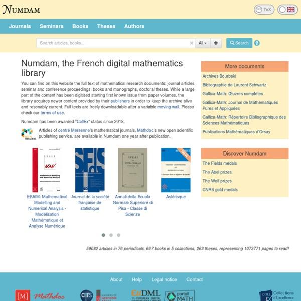 Recherche et téléchargement d'archives de revues mathématiques > Accueil