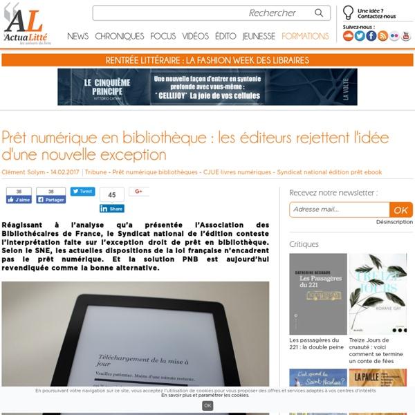 Prêt numérique en bibliothèque : les éditeurs rejettent l'idée d'une nouvelle exception