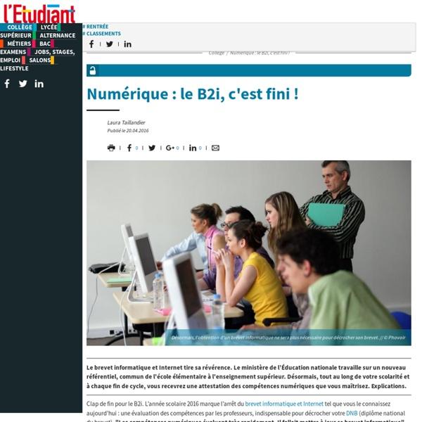 L'Etudiant (04/2016) : Numérique au collège : le B2i, c'est fini !