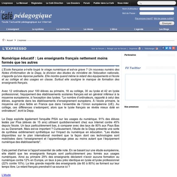 Numérique éducatif : Les enseignants français nettement moins formés que les autres