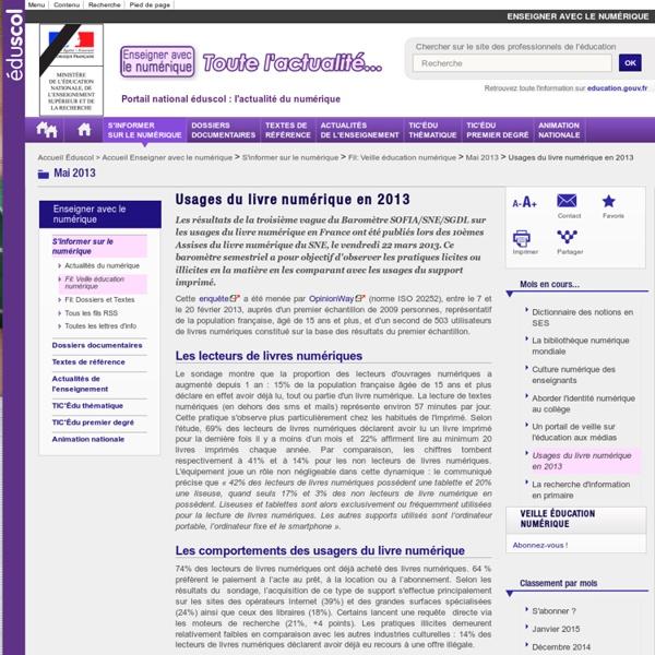 Usages du livre numérique en 2013 — Enseigner avec le numérique