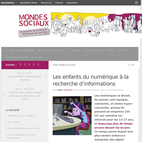 Les enfants du numérique à la recherche d'informations – Mondes Sociaux