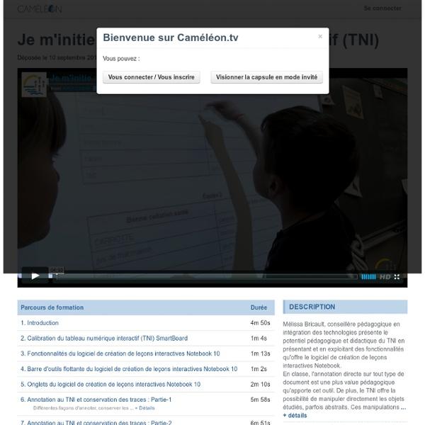 Je m'initie au tableau numérique interactif (TNI) - Caméléon.tv