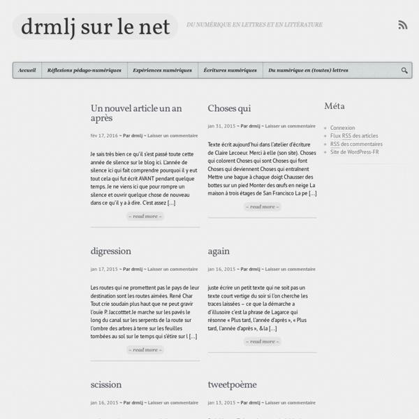 Drmlj sur le net - Du numérique en Lettres et en Littérature