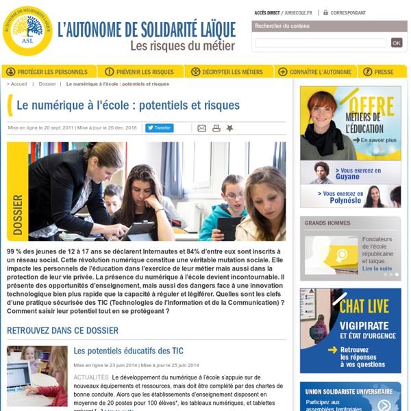 Le numérique à l'école : potentiels et risques