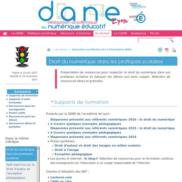 Droit du numérique dans les pratiques scolaires - [DANE de Lyon]