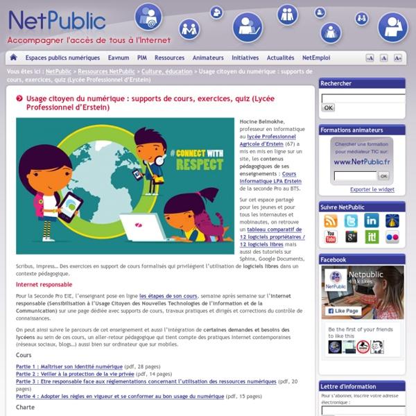 Usage citoyen du numérique : supports de cours, exercices, quiz (Lycée Professionnel d'Erstein)