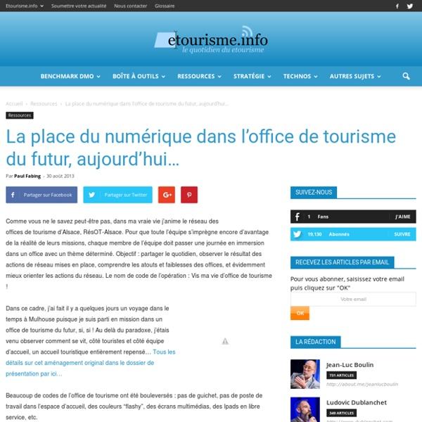 La place du numérique dans l'office de tourisme du futur