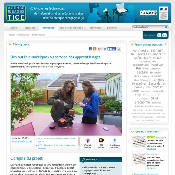 L'Agence nationale des Usages des TICE - Des outils numériques au service des apprentissages