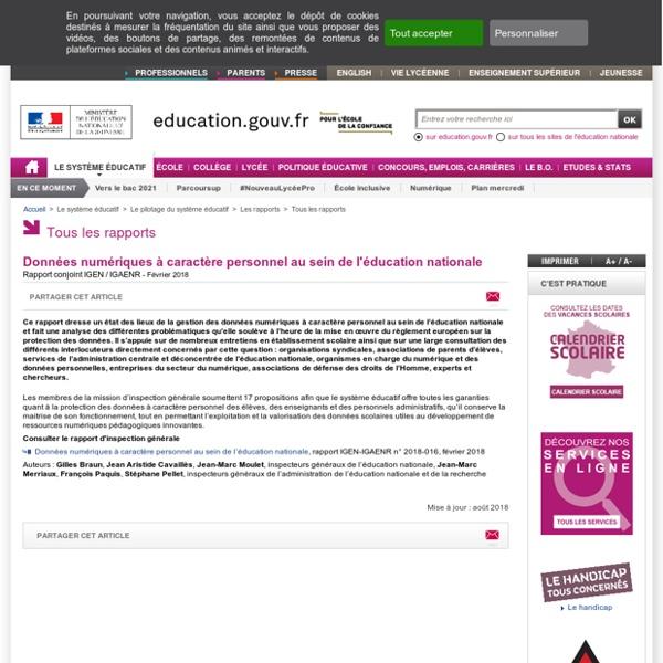 Données numériques à caractère personnel au sein de l'éducation nationale