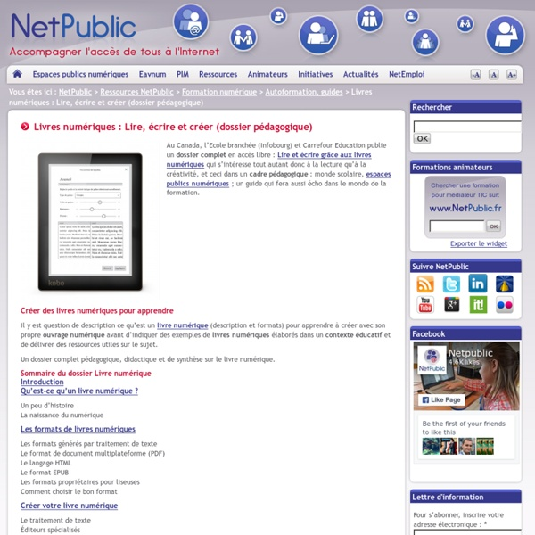 Livres numériques : Lire, écrire et créer (dossier pédagogique)