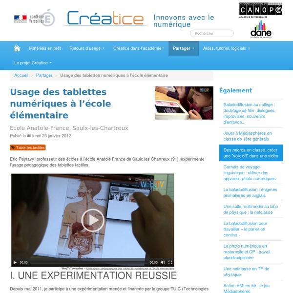 Sciences et tablettes tactiles (académie de Versailles)