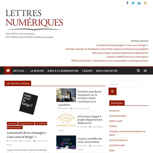Toute l'actualité du livre numérique en Belgique et plus encore