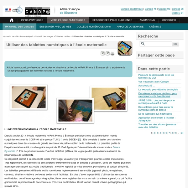 Usages des tablettes numériques à l'école maternelle