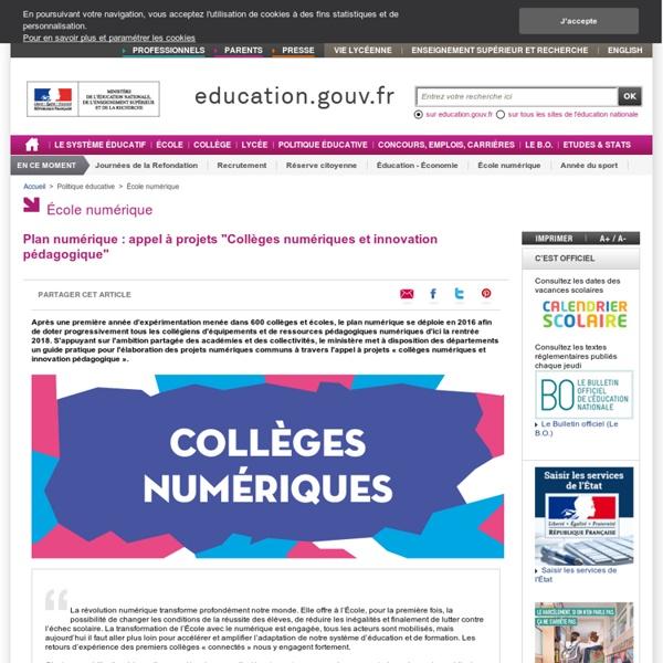 """Plan numérique : appel à projets """"Collèges numériques et innovation pédagogique"""""""