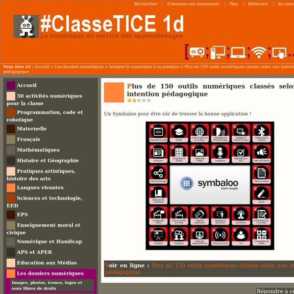 Plus de 150 outils numériques classés selon une intention pédagogique