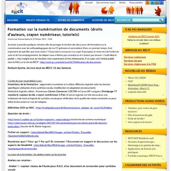 Formation sur la numérisation de documents (droits d'auteurs, crayon numériseur, tutoriels)