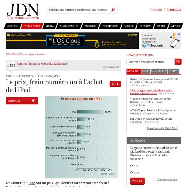 L'iPad intéresse-t-il les Français ? : Le prix, frein numéro un à l'achat de l'iPad