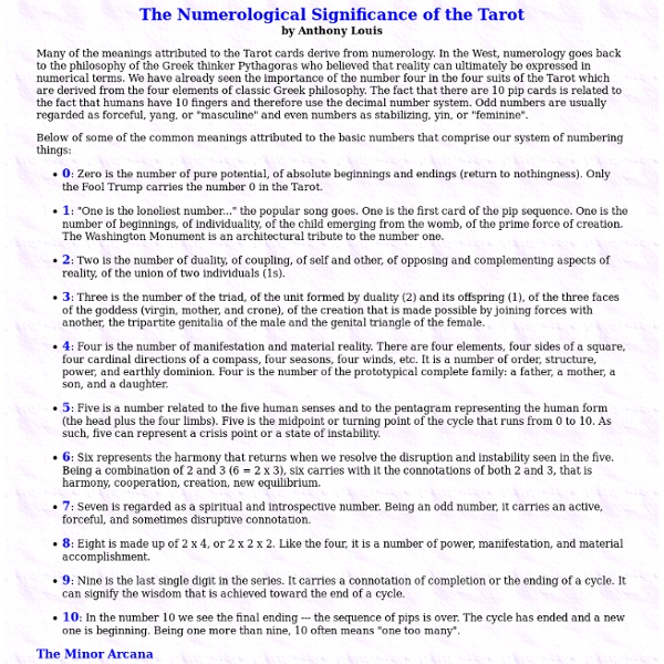 Numerological Significance of the Tarot