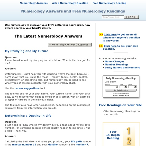 Free Numerology Readings and Numerology Answers