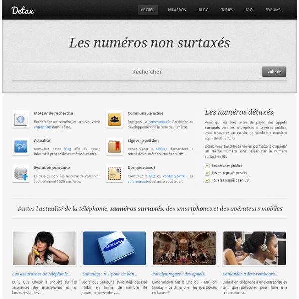 Detax - Les numéros de téléphone non surtaxés des entreprises françaises