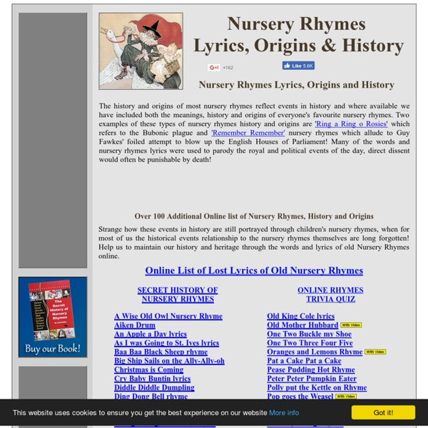 Nursery Rhymes lyrics, origins and history