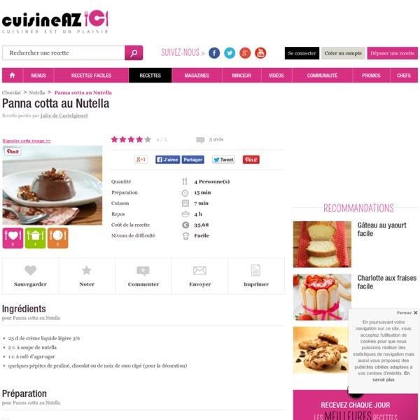 Recette de Panna cotta au Nutella