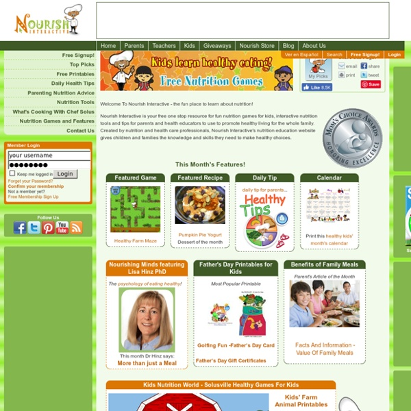 Nutrition Education, Free - Fun Healthy Kids' Games, Healthy Family Living Website, My Plate Education, Healthy Eating Wellness Tools, Children's Nutrition Information, Free Kids' Games