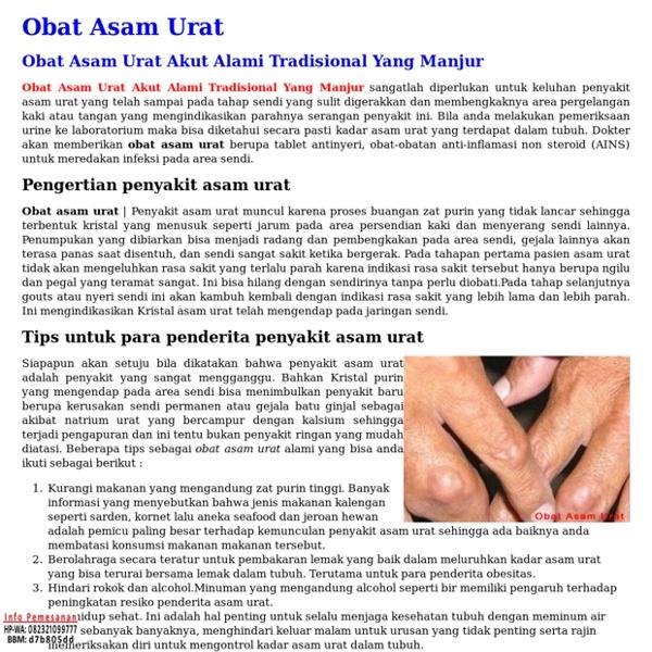 Obat Asam Urat Akut Alami Tradisional Yang Manjur