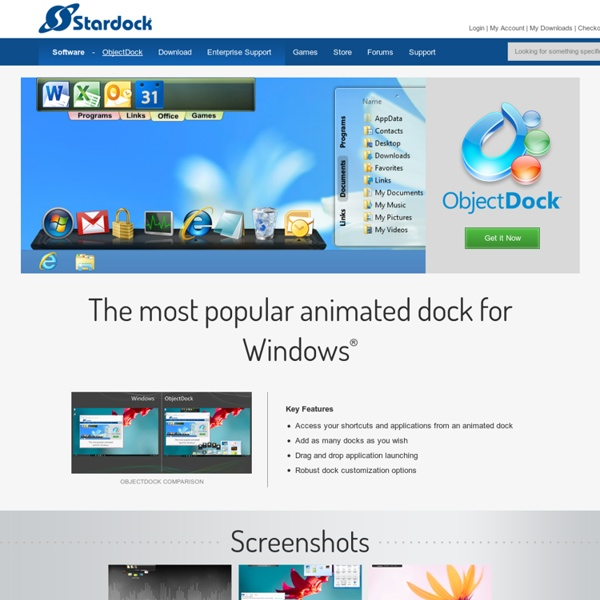 ObjectDock - Animated Dock for your Shortcuts and Widgets
