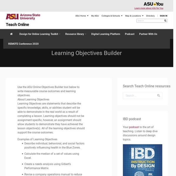 Objectives Builder - TeachOnline