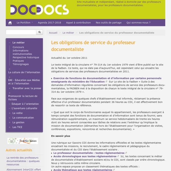 Les obligations de service du professeur documentaliste