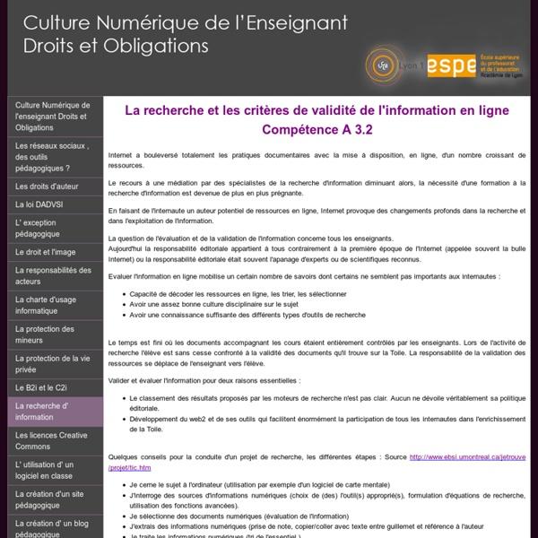 Culture Numérique de l'enseignant Droits et Obligations - Cours en ligne - La recherche d' information