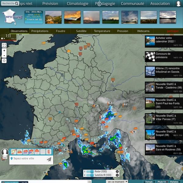 Infoclimat - la météo en temps réel : observations météo en direct, prévisions, archives climatologiques, photos et vidéos...