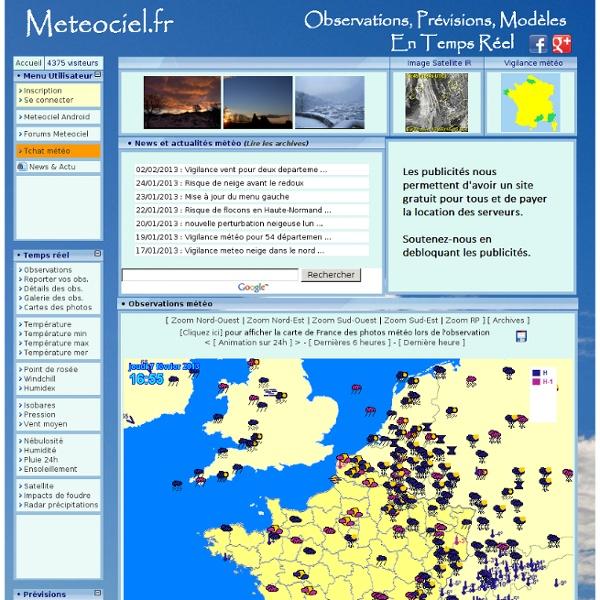 Meteociel - Météo - observations meteo en temps réel et prévisions météo pour la France