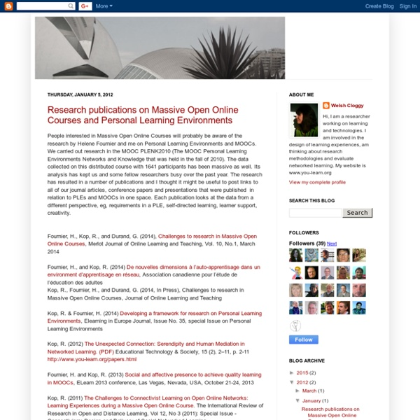Research publications on Massive Open Online Courses and Personal Learning Environments