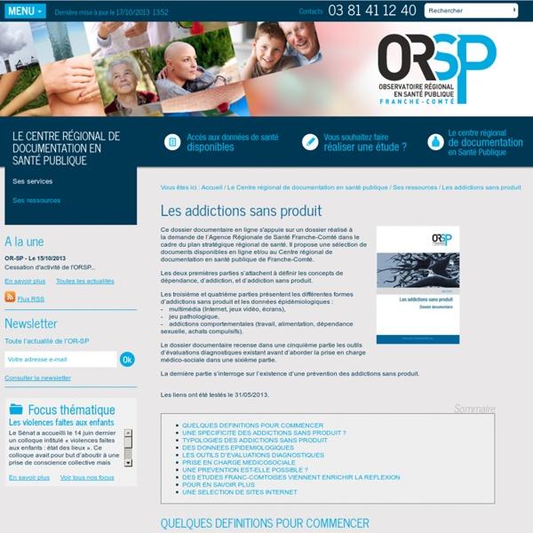 Observatoire Régional en Santé Publique de Franche-Comté - Les addictions sans produit