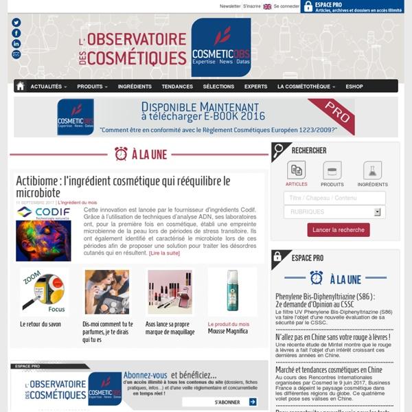 L'Observatoire des Cosmétiques, Actualité, Veille et Information cosmétiques