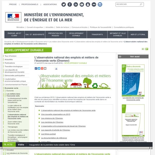 Les métiers de l'économie verte