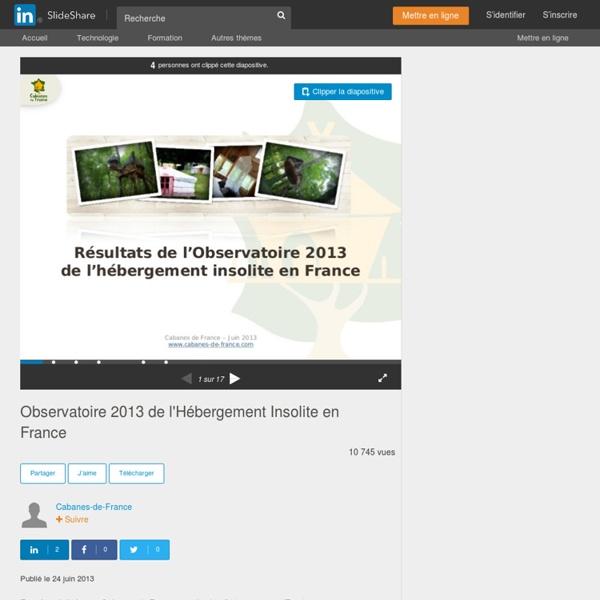 Observatoire 2013 de l'Hébergement Insolite en France