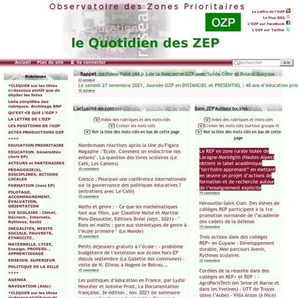 SITE + RSS + LETTRE OZP : Observatoire des Zones Prioritaires