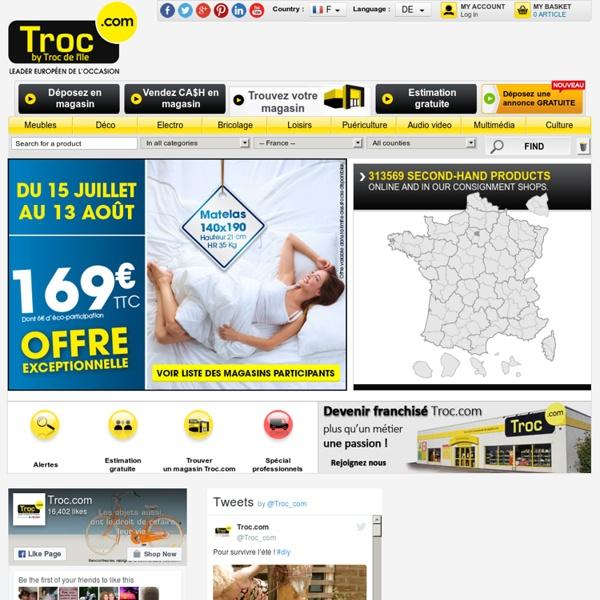 Dépot-vente Troc.com : achat vente de meubles d'occasion, d'électroménager d'occasion...