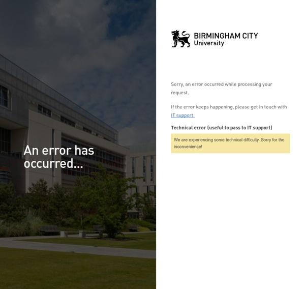 An error has occurred - Birmingham City University